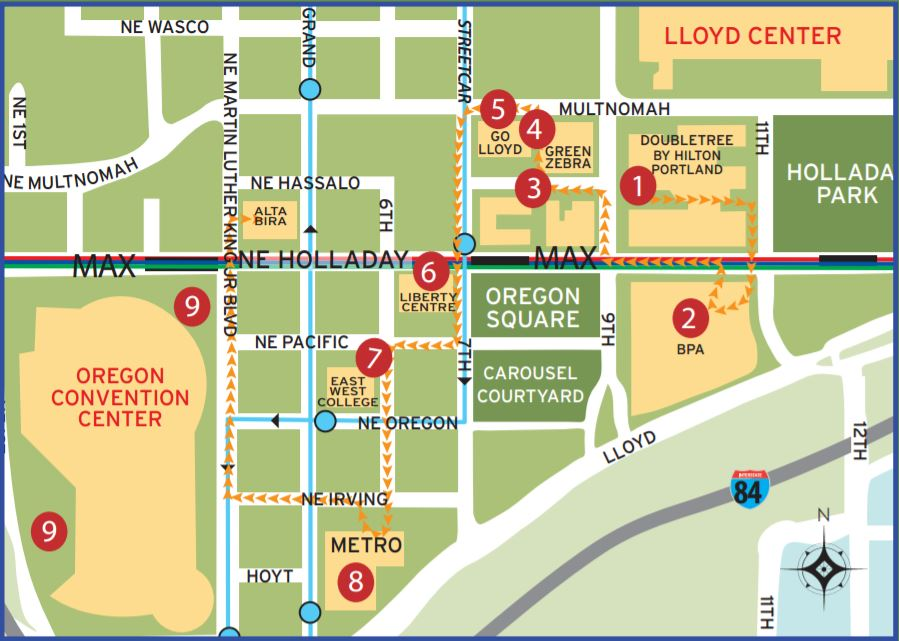 Walking tour map of Lloyd EcoDistrict