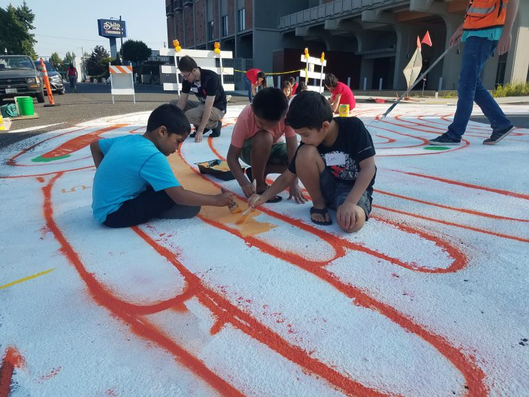 Lloyd intersection mural painting, Color Outside the Lines