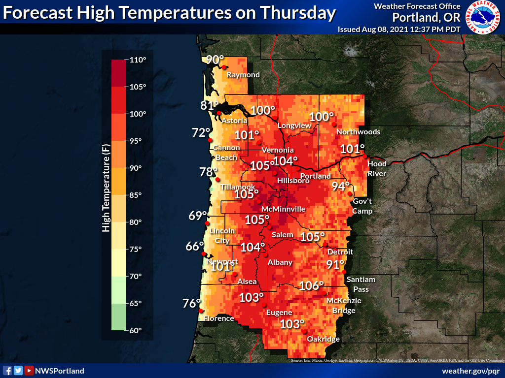 """The image depicts a forecast map of upcoming weather in North West Oregon. The text on the top reads, """"Forecast High Temperatures on Thursday. Portland, OR. Issued Aug 08, 2021. 12:37 PST. Coastal temperatures on the map range between 69-90 degrees. The interior of the state shows temperatures between 100-106."""